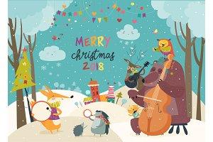 Happy animals celebrating Christmas