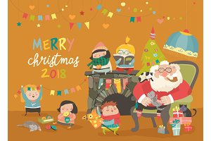 Cartoon Santa Claus with kids and gifts
