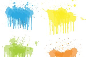 Dripping Paints Vector Set