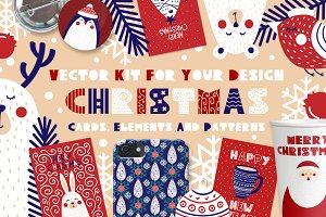 Christmas cards, elements & patterns