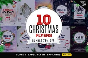 75% OFF BUNDLE: 10 CHRISTMAS Flyers