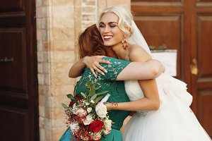 Blonde bride and her mother