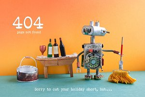 404 error page not found. Funny robot washer with mop and bucket of water, wine glass and bottles on wooden table, orange wall green floor interior.