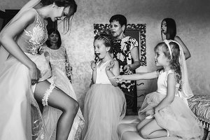 Bride shows to little girls garter