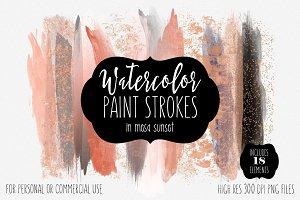 Peach Watercolor Brush Strokes