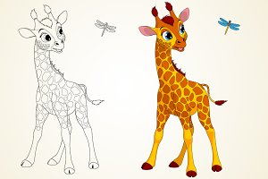 Funny little giraffe and dragonfly