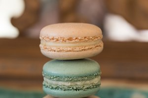 Pink and pale green macaroons