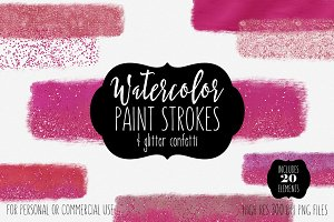 Hot Pink Watercolor Paint Strokes
