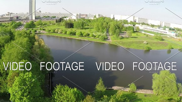 Aerial View Of City With River And Green Parks Moscow