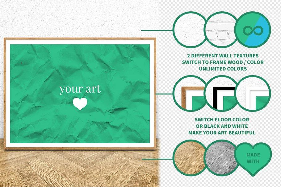8515472b6c0f Wood Frame Mockup 2 (Landscape) ~ Print Mockups ~ Creative Market