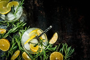 Cold drink with lemon and rosemary