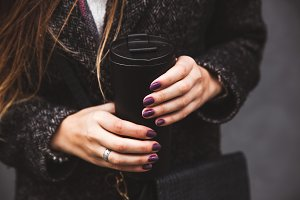 stylish manicure and coffee