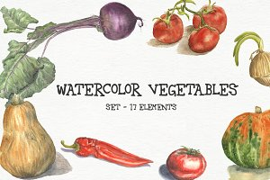Watercolor vegetables - set