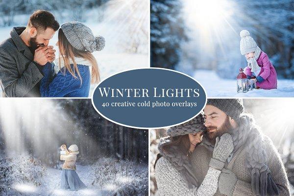 Winter Lights photo overlays