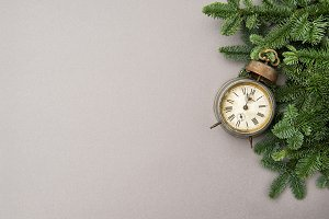 Christmas decoration antique clock