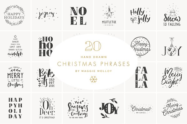 Hand Drawn Christmas Art EPS PSD
