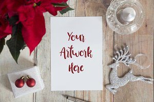 A5 paper chistmas invite mockup