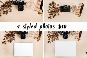 Styled desk vintage camera