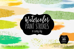 Sunny Day Watercolor Paint Strokes