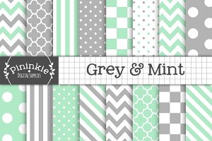 Grey & Mint Digital Paper