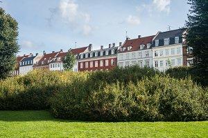 Row of colorful homes Copenhagen in Denmark