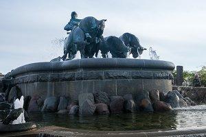 Gefion Fountain opened 1908 in Copenhagen Denmark