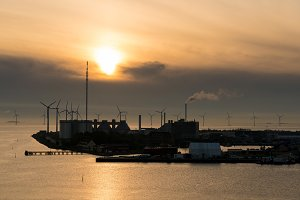 Wind turbines at entrance to Copenhagen Harbour