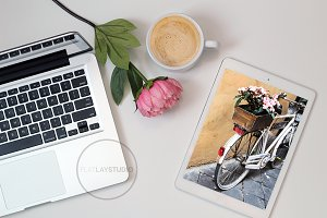 FLAT LAY - MACBOOK IPAD MOCKUP #37