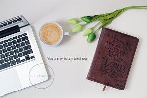 FLAT LAY - MACBOOK BIBLE LATTE #38