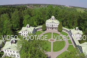 Aerial view of estate in Tsaritsyno museum and reserve, Moscow