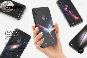 iPhone X Clear Case Mockup Set Black