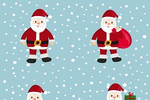 Santa Claus, cartoon, set, vector