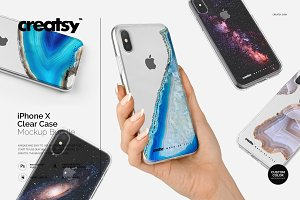 iPhone X Clear Case Mockup Bundle
