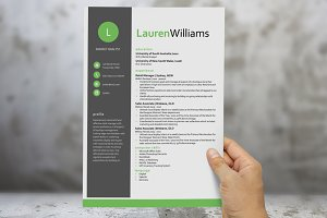 Green resume template for Word
