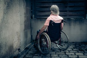 Senior Man In Wheelchair, Isolation And Loneliness