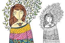 Girl spring dreams illustration