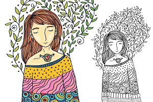 Girl spring dreams illustration