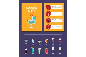 Cocktail Menu Advertisement Poster with Martini