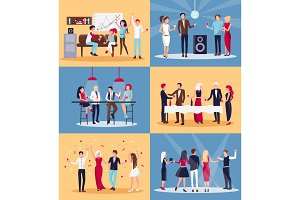 People Having Fun Together on Vector Illustration