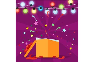 Gift Box with Christmas Lights Vector Illustration
