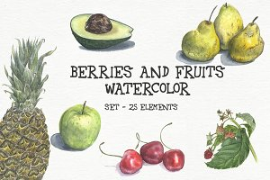 Watercolor berries and fruits - set