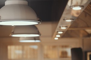 Lamps - professional kitchen equipment in restaraunt