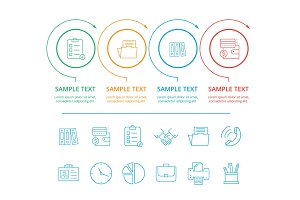 Infographics Colorful, Icons Vector Illustration
