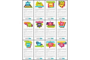Price Labels web Posters Set Best Discount Sticker