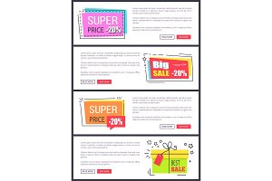 Super Price -20% Collection Vector Illustration