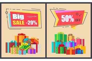Big Sale Advertisement Posters Vector Illustration