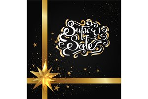 Super Sale Inscription with Golden Curved Elements