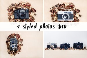 Vintage camera styled stock photo