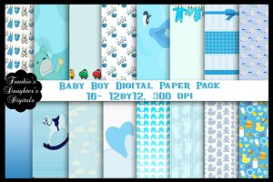 Baby Boy Digital Paper, 16 Papers