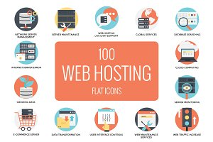 100 Flat Web Hosting Icons